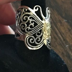 Vintage 925 Silver Butterfly Ring
